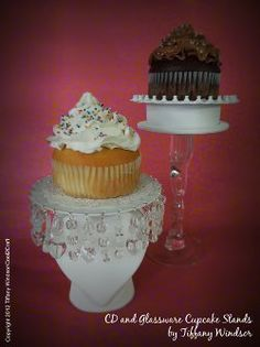 CD Cupcake Stand - would make awesome votive stands as part of a tablescape