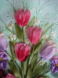 Ribbon embroidery tulips