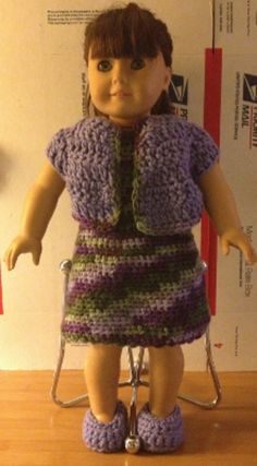 American Girl Crochet Jumper with Jacket Set - Handmade