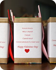 Miniature Cereal Box Valentines