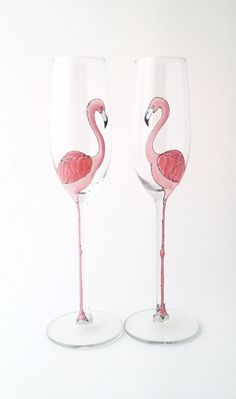 Pair of Pink Flamingo Long Stemmed Champagne Flutes