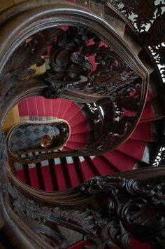 Rococo Spiral staircase inside The Red House in Monshau, Germany