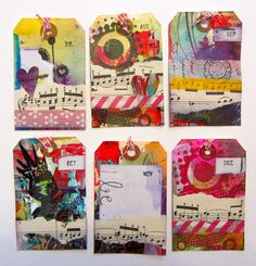 Great tags made from index cards (from Made by Nicole) art journal, card, perpetu journal, journal tagsdivid