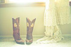 cowboy boots, wedding dress