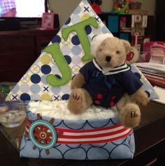 Sailboat diaper cake