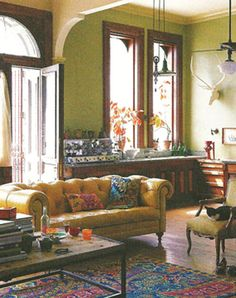 Living room - I like the rug and pillows as the primary color accents (I don't necessarily love the colors, but I do love feel of it.)