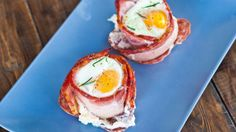goat cheese and eggs in bacon baskets.