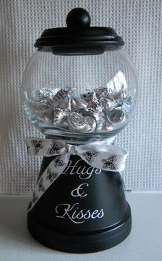 Hugs & Kisses candy jar - Made w/clay flower pot and dollar bowl - what a sweet gift