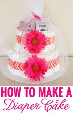 How to make a diaper cake - a super easy-to-follow tutorial! #babyshower