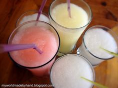 Kool-Aid Slushies :   1 packet of Kool-Aid  2 cups of club soda  1/2 cup sugar  2 1/2 cups crushed ice  mix in a blender.