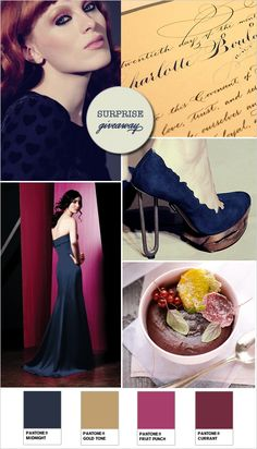 navy blue wedding ideas...get rid of the gold and substitute for Ivory, and add a deeper hotter pink/purple in there!
