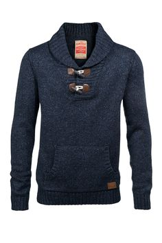 Wool Shawl Collar Pullover with Toggle Closure