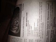 Amish recipe M Granola Bars
