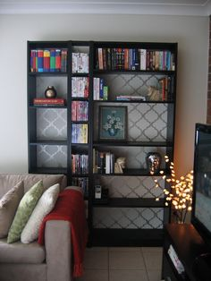 bookcase with stenciled back #styledby