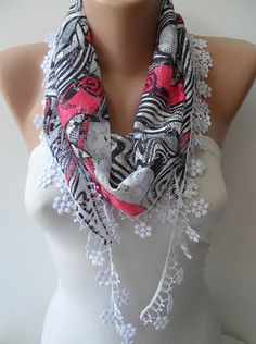 Perforated Fabric - Black - White and Pink Scarf with White Trim Edge - Summer Scarf$13.90
