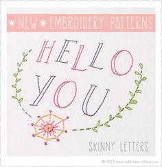 Sublime Stitching - New Embroidery Patterns! Skinny Letters