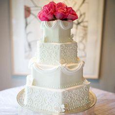 Hexagonal wedding cake tiers offer a sleek, modern alternative to round or square tiers: http://www.bhg.com/wedding/cakes/creative-wedding-cakes/?socsrc=bhgpin050914geometricweddingcake&page=1