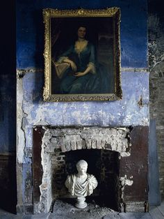 Simon Brown | Blue Bedroom, Fireplace | Lambda Photographic Print - $2400. interior, patina, blue walls, color, fireplaces, art, statu, portrait, blues