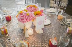 bright and colorful pink, orange, yellow and gray weddding at Burlington Golf and Country Club | Planning and Design by www.kjandco.ca | Photography by Elizabeth In Love Read more - http://www.stylemepretty.com/2013/09/04/burlington-ontario-wedding-from-kj-co-beth-ty-in-love/