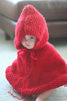 baby red hooded poncho