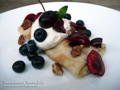 Berry Cherry Cream Crepes with Pecans