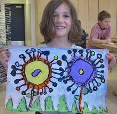 Kindergarten - Big Abstract Flowers in pairs.