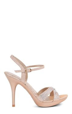 Deb Shops Open Toe High Heel with Small Platform, Ankle Strap and Stones $30.67