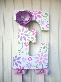 "9"" Custom Headband Bow Holder Headband Bow Organizer, Decoupage Letters, Children Initial Bow Holder Fabric Flower, baby shower gifts. $ 28.00, via Etsy."