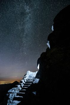 stairway to Sharp Top in the Peaks of Otter in the Blue Ridge Mountains, near Bedford, Virginia
