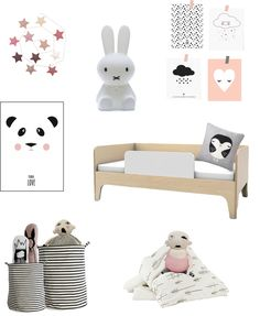 black, white and a hint of pink decor ideas for kids
