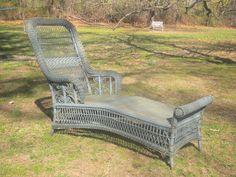 Rare Antique Victorian Wicker Chaise Lounge Circa 1980's