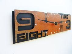 Outnumbered Clock III Rust w/ Black - modern & industrial look
