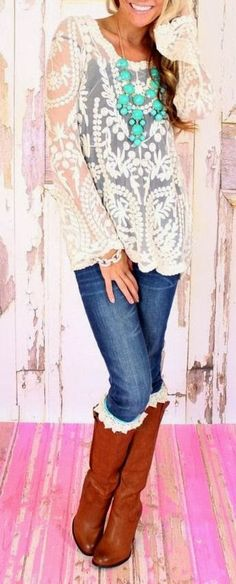 Cute Lace Blouse ,Blue Jeans With Brown Boots And Necklace cowboy boots, lace tops, statement necklaces, style, fall outfits, riding boots, crochet tops, boot socks, shirt