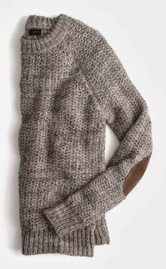 Comfy grey crochet sweater with brown elbow patches