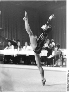 Gymnast Regina Grabolle performing on floor exercise (1979).
