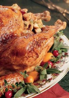 Glazed Roast Turkey with Cranberry Stuffing