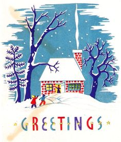 Snowy Cottage Chimney Smoke Winter Scene Vintage Christmas Card.