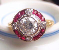 Natural Rubies 4 Brilliant Cut Diamonds by SweetHeirloomVintage, $2750.00