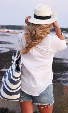 Piperlime Blue And White Stripe Nautical Tote