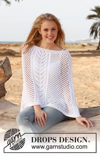 """Knitted DROPS poncho with cables and lace pattern in """"Paris""""  Free pattern!"""