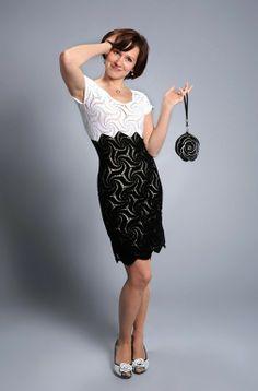 vestido preto e branco de crochet