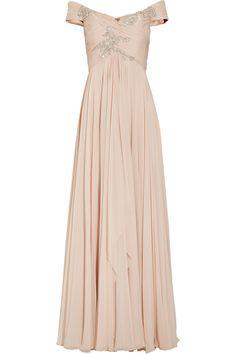 Off the shoulder blush gown / Marchesa