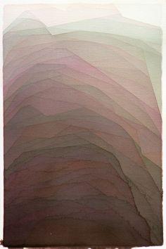 "Alex Diamond - Watercolor, 2012, Painting ""Two edged mud climb"""