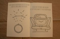 Check out this cool wedding-themed coloring book. It's online in free pdf from at http://lovelyindeed.com/diy-activity-book-free-printable/, so you just have to print, fold, and bind (or staple) for a cheap way to distract the little ones (and some of the older guests).