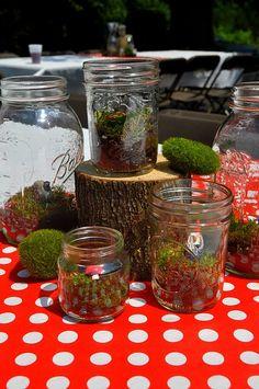 Gnome party terrarium centerpieces -- miniature terrariums make great party favors! #birthday #party #kids