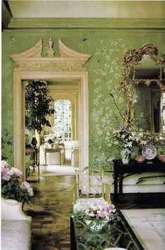 chinoiserie, interior design, the doors, design homes, wallpapers, hous, garden, entryway, green rooms