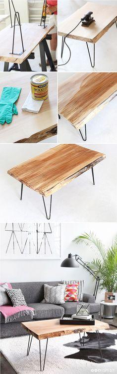STEPS | DIY Wood Slab Hairpin leg Coffee table ISPYDIY