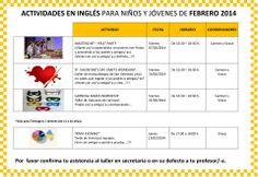 Actividades en inglés para niños y jóvenes de febrero 2014