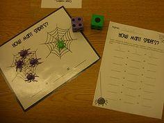 math station, grade garden, math centers, halloween themes, children, gardens, spider, insect, first grade