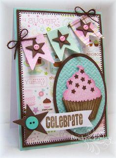 little girl birthday, birthday card, color design, chocolate cupcakes, cupcak card, chocol cupcak, paper crafts, cupcake card ideas